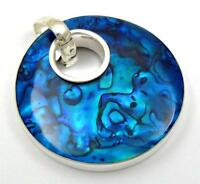 Natural Blue Abalone Shell 925 Sterling Silver Round pendant Women Jewelry SC167