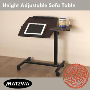 Rolling Laptop Table Bedside Reading Desk Adjustable Sofa Table Height Tilt Top