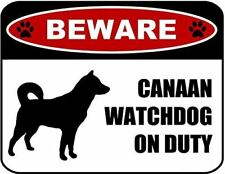 Beware Canaan Watchdog On Duty (Silhouette) Laminated Dog Sign