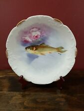 """Antique 1890'S Flambeau Limoges Fish Plate Hand Painted & Signed 8.75"""""""