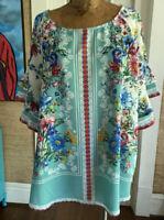 boho flutter sleeve floral print multicolor  UMGEE +  NWT blouse size XL BOHO
