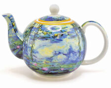 CLAUDE MONET Teapot Fine China PARIS Lillies GIFT BOX Tea Water Painting Gold UK