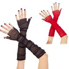 Costume Goth Sexy Soft Sheer Mesh Fingerless Elegant Gothic Elbow Length Gloves
