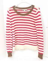 Banana Republic Women's Sweater Sz M Pink & Ivory Striped Metallic Trim