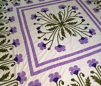 Lavender Poppy Field Medallion QUILT TOP -Hand Applique Poppy Borders
