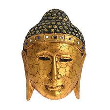 Oriental Wood Golden Buddha Head Hand Crafted Wall Art