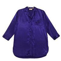Victoria's Secret VINTAGE Silky Sleep Shirt Gown Sz S Purple Pocket LS Button Up