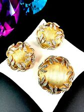CROWN TRIFARI GOLD BLACK DIAMOND RHINESTONE GARDEN OF EDEN BROOCH EARRINGS SET
