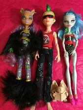 Monster High: 3 PREVIOUSLY PLAYED WITH DOLLS 2 FEMALE 1 MALE LOT #1