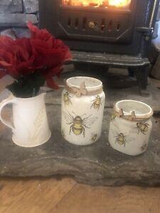 Beautiful Decoupage Bee Jars /vases/tea Lights /craft/unique/recycled