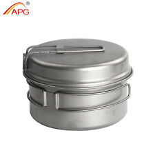 2pcs Titanium Camping Cookware Picnic Pots and Pans Cooking Equipment 500ml APG