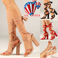 Womens Lace Up Block Mid High Heel Ankle Tie Wrap Lace Up Strappy Sandal Shoes