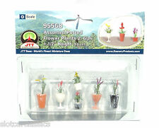 "JTT SCENERY 95568 ASSORTED POTTED FLOWER PLANTS 2  O SCALE  1 1/2"" HIGH   6/PK"