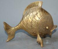 Chinese Fengshui Decor golden Brass Carved Money Wealth Fish auspicious Statue