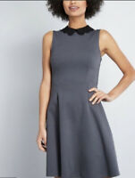 ModCloth A-line Skater Dress Scalloped Collar Sleeveless M Vintage Inspired