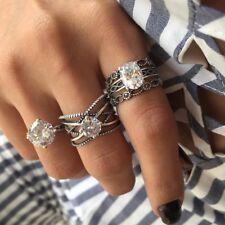 Big Cubic Zircon Wedding Knuckle Finger Rings Set for Women Bohemia Jewelry 3PCS
