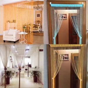 Door Screen Room Divider Fringe Curtains Window Glitter String Curtain Panel W