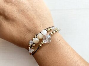 Crystal Glass Beads multi wrap bracelet Unique Jewelry Wax Cord Gold Bead