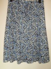 MEXX ladies blue/black/white abstract print skirt with tie belt- S