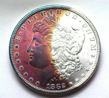 1882-S MORGAN SILVER DOLLAR GEM UNCIRCULATED IRIDESCENT TONING!!