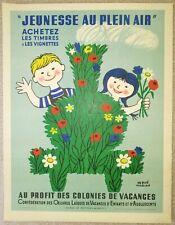 """HERVé MORVAN ancienne affichette originale """"JEUNESSE EN PLEIN AIR"""" (années 50-60"""