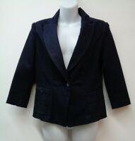 White House Black Market 6 Blue Denim Blazer Jacket Stretch 3/4 Sleeve Small