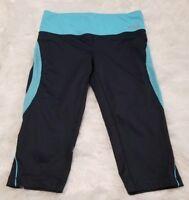 Fila Sport Womens Crop Leggings Athletic Black & Blue Live in Motion SIZE Medium