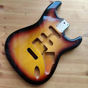 Used Relic 90s Guitar Body Strat Stratocaster Style Sunburst 3ts Poly 44mm Depth