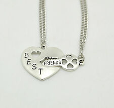 FASHION WOMEN BEST FRIENDS FOREVER FRIENDSHIP TWO PIECES SILVER PENDANT NECKLACE