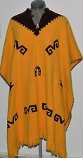 Vintage Thick Natural Wool PONCHO CAPE Blanket Rug Coat Fringes hippie Boho