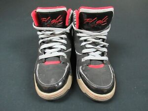 NIKE AIR JORDAN YOUTH SIZE 6 HIGH TOP BASKETBALL SHOES BLACK RED -SOME WEAR