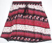 H&M Loves Coachella Tribal Elephant Skirt 6 Red Black Pom Pom Tie RicRac Trim