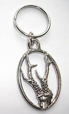 ROE DEER TROPHY PEWTER KEY RING,   ideal for Keys, Bags, Collectables. (KA12)