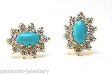 9ct Gold Turquoise Cluster stud earrings Gift Boxed studs Made in UK Xmas
