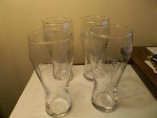 BUDWEISER BEER 16 oz Clear Pilsner Glasses LOT Of 4 Raised Bow Tie Logo