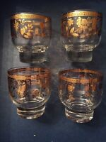 4 MCM CULVER CHANTILLY GOLD ~ 4 oz FOOTED TUMBLER COCKTAIL BAR Low Ball GLASSES