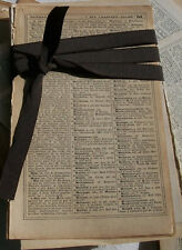 Bundle of Vintage French Book Pages Dictionary sepia aged 1920s sheets alphabet