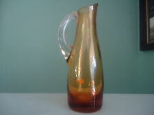 vintage retro amber gold glass jug or vase with label foreign japan bohemian