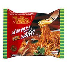 WAI WAI Spicy PAD CHA Baby Clam Famous Flavour soup Thai Instant noodle 55g.