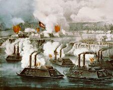 American Civil War Painting Battle Of Fort Hindman Arkansas Real Canvas Print