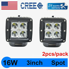 2X 3Inch 16W CREE LED Work Light Cube Pods Driving Work Fog SPOT Light /FLOOD 24