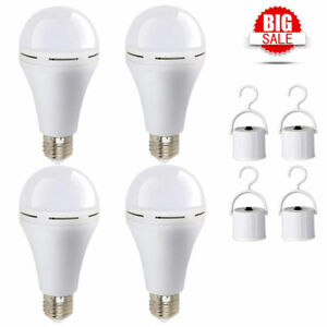 4Pack Rechargeable Emergency LED Light Bulb,12W Portable Backup Emergency Lamp