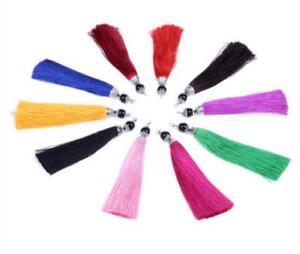 V89 (1,10 pcs)14cm Long Black Ball Tassel(use for earring bookmark runner dress)