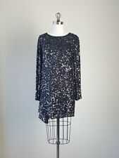 3.1 PHILLIP LIM Black Shift  Dress w/ Sequins Asymmetrical sz 6 Medium