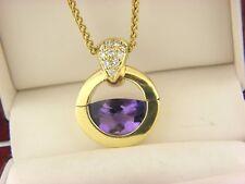 MOVADO Amethyst & Diamond Half Moon Necklace 18K Gold Estate Jewelry
