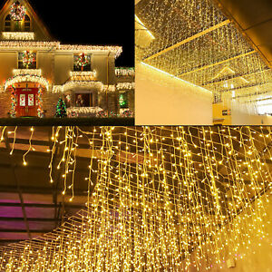 LED Eisregen Lichterkette Vorhang Außen Eiszapfen 200/400/600 LED Weihnachtsdeko