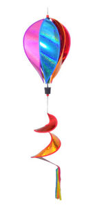 """WorldaWhirl Wind Spinner Hot Air Balloon 6 Color Sparkle PVC 10"""" Wide 43"""" Tall"""