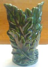 Flower Vase, Green Leaves, Ceramic, Glazed