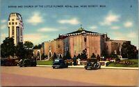 Vtg Shrine and Church of the Little Flower Royal Oak Detroit MI Linen Postcard