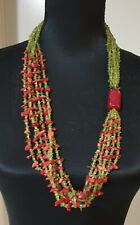 206gms - Handmade wearable art Red Coral And Peridot Statement necklace